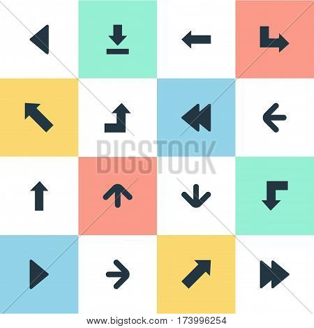 Set Of 16 Simple Cursor Icons. Can Be Found Such Elements As Let Down, Indicator, Left Direction And Other.