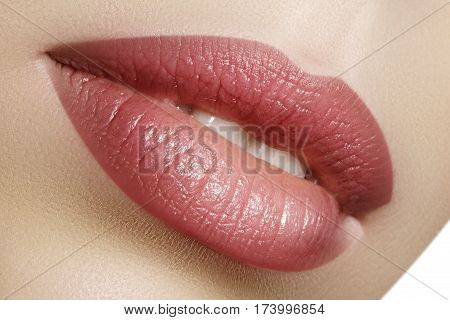 Closeup Perfect Natural Lip Makeup. Beautiful Plump Full Lips On Female Face. Clean Skin, Fresh Make