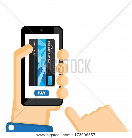 Mobile payment vector cartoon design for business finance.