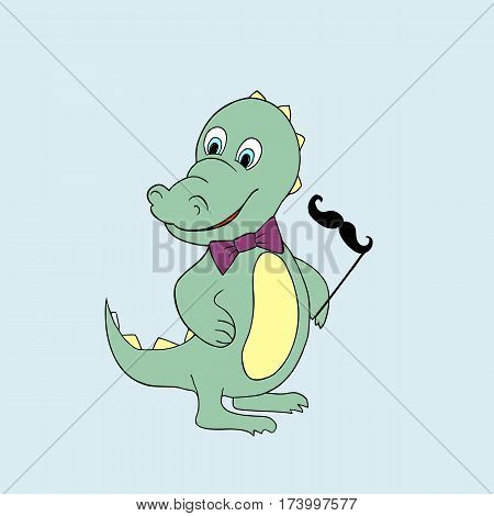 Vector illustration of baby dino. Isolated cartoon animal