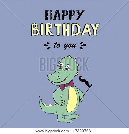 Happy Birthday lettering,  illustration with baby dino. Good for header, invitation, banner, greeting card, baby shower