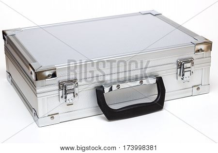 silver toolbox isolated on a white background