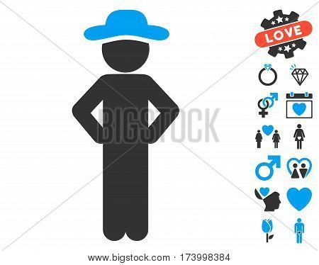Gentleman Akimbo icon with bonus amour design elements. Vector illustration style is flat iconic blue and gray symbols on white background.