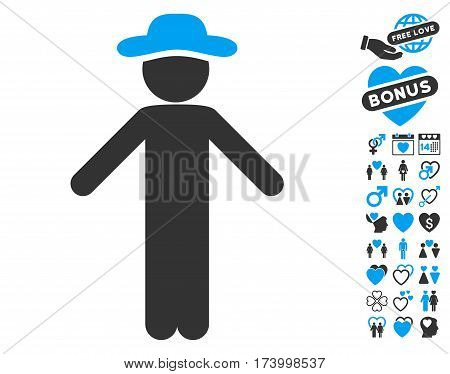 Gentleman Apology icon with bonus dating clip art. Vector illustration style is flat iconic blue and gray symbols on white background.