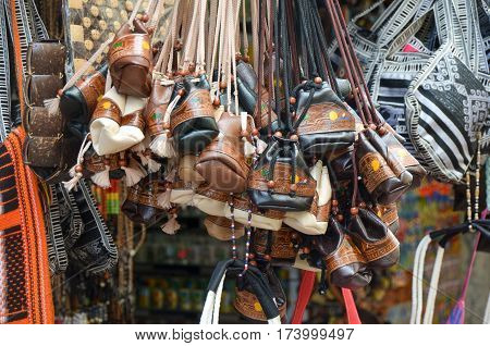 Handmade bags in the market of Dominicana.