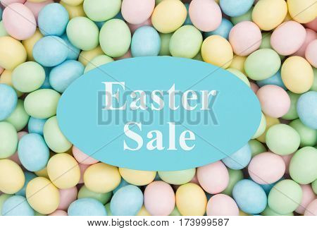 An ad for an Easter sale Retro Easter eggs candy with text Easter Sale