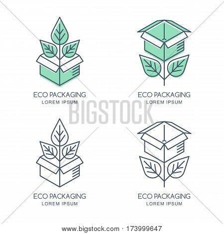 Vector Eco Packaging Logo, Icon Or Emblem Design Template. Linear Style Box With Green Growing Plant