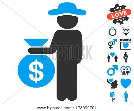 Gentleman Investor icon with bonus valentine design elements. Vector illustration style is flat iconic blue and gray symbols on white background.