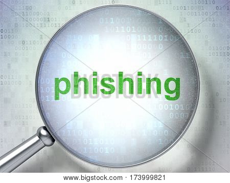 Privacy concept: magnifying optical glass with words Phishing on digital background, 3D rendering