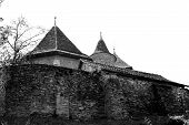 Fortified medieval church in the village Malancrav, Romania, Here are some of the most significant Gothic murals in Transylvania poster