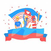 Cheering Happy Supporting Crowd Of American National Football Spots Team Fans And Devotees With Banners And Attributes. Sportive Support Team With Flags Screaming And Smiling On A Stadium Vector Illustration. poster