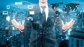 Double exposure of professional businessman cloud technology and network connection with blurred cityscape in communication technology and business concept element of this image furnished by NASA poster