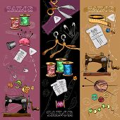 Tailor banners tailoring tools seamstress fashion designer needlework hand drawn vector poster
