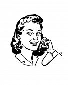 Lady Chatting On The Phone - Retro Clip Art poster