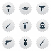 Set Of 9 Simple Military Icons. Can Be Found Such Elements As Kalashnikov, Firearm, Terrorist And Other. poster