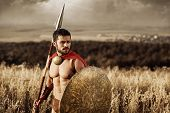 Young and fearless. Sepia shot of a young brave Spartan warrior standing alone in a field copyspace  legionnaire gladiator bravery sportive athletic muscles strong perfection medieval concept poster