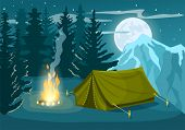 Mountain tourist camp in winter forest at night vector illustration. Campfire and tourist tent on snowy meadow. Camping and hiking concept, winter adventure, natural mountain landscape in cartoon style. Mountain camp. Night campin concept. poster