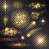 Set glows bright star light fireworks. Flash and glow, sparkle illuminated, flare effect, shine explosion, glitter and twinkle, spark magic, decoration starburst, shiny illustration. Raster version poster