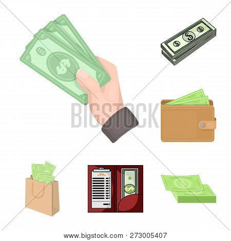 Vector Illustration Of Cash And Currency Sign. Set Of Cash And Stack Stock Vector Illustration.