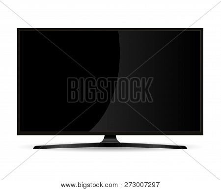 Black Full Hd Tv Set Monitor With Flat Wide Screen. Electronic Led Display Device For Web Presentati