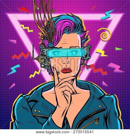 Thinker Vr Glasses Woman Gamer Virtual Reality Online. 80s Girl. Pop Art Retro Vector Illustration K