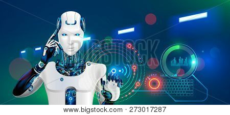 Robot Works At Factory. Humanoid Cyborg Or Android With Ai Taps The Button On The Virtual Hud Graphi