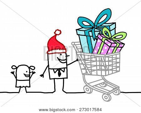 Hand Drawn Cartoon Santa Man With Child And Shopping Cart Full Of Gifts
