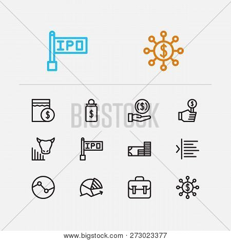Finance Trading Icons Set. Invest Money And Finance Trading Icons With Bull Market, Bid And Chart. S