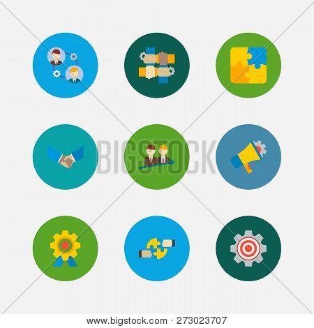 Technology Partnership Icons Set. Successful Partnership And Technology Partnership Icons With Hands