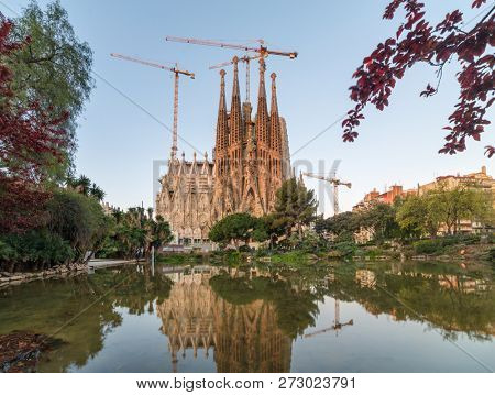 Barcelona, Spain - March 26, 2018: La Sagrada Familia - the impressive cathedral designed by Gaudi, which is being build since 19 March 1882 and is not finished yet, Barcelona, Spain.