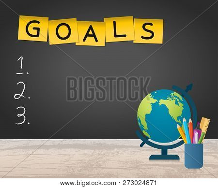 New Year Goals List With Globe And Stationery