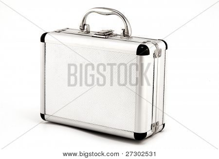 Aluminum suitcase, isolated