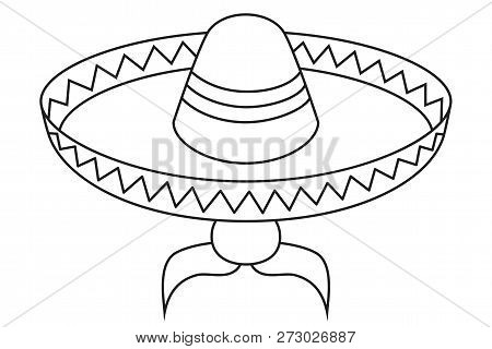 Mexican sombrero hat with moustache. Vector black icons set of sombrero  isolated on white.