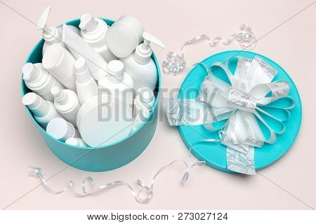 Cosmetics As A Present. Open Large Round Gift Box Filled With Cosmetic Products. Close-up, Top View