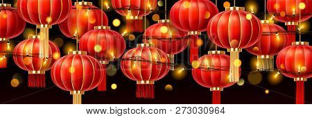 Garlands on chinese lanterns or china paper lamps with glowing, asian decoration with bokeh for new year holiday or traditional festive, hanging chaplet or shining festoon for holiday. Celebration poster