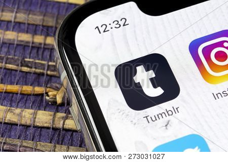 Sankt-petersburg, Russia, December 5, 2018: Tumblr Application Icon On Apple Iphone X Smartphone Scr
