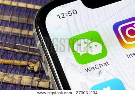 Sankt-petersburg, Russia, December 5, 2018: Wechat Messenger Application Icon On Apple Iphone X Smar
