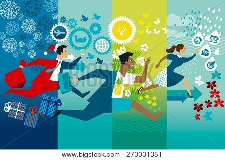 Businessmen Running Whole Year Flat Vector Color Illustration. Job Rush. Workaholics Cartoon Charact
