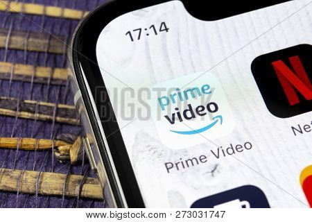 Sankt-petersburg, Russia, December 5, 2018: Amazon Prime Video Application Icon On Apple Iphone X Sc
