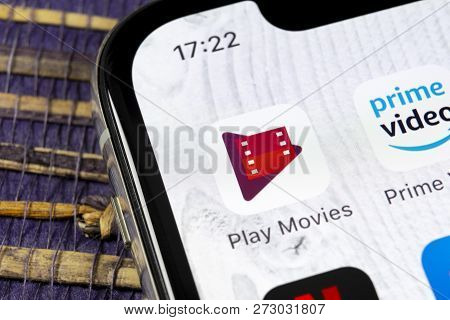 Sankt-petersburg, Russia, December 5: Google Play Movies Application Icon On Apple Iphone X Screen C