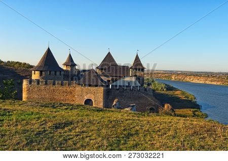 Picturesque Landscape Of Ancient Khotyn Castle And The Dniester River. Famous Touristic Place And Tr