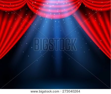 Red Curtains Partires Theater Scene. Theater Stage, Festival And Celebration Background. Glowing Sta