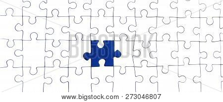 Background Of White Puzzle With A Bright Blue Puzzle Center
