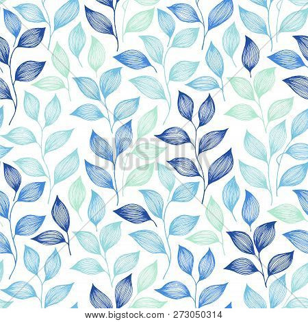 Wrapping Tea Leaves Pattern Seamless Vector. Minimal Tea Plant Bush Leaves Floral Textile Design. He
