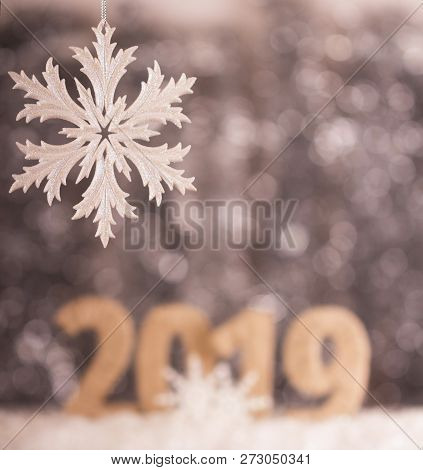 Beautiful Openwork Snowflake Background Christmas Lettering 2019 New Year