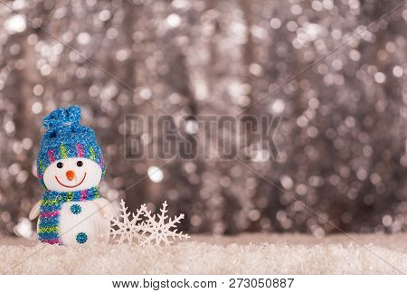 Happy Smiling Snowman And New Year Inscription 2019 With Snow Background