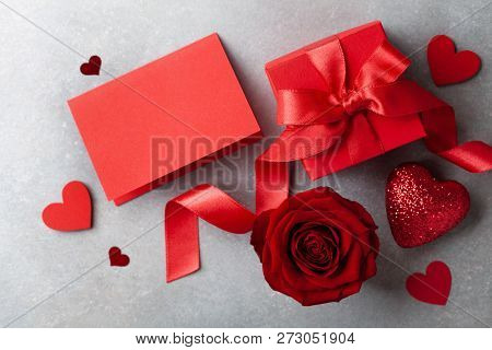 Gift Box, Rose Flower, Empty Note And Hearts For Valentines Day Card.