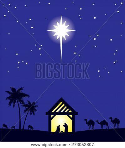 Vector Illustration Of Nativity Christian Scene. Christmas Background.