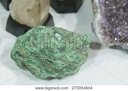 Malachite Green Mineral Gemstone Texture, Malachite Background, Green Background.