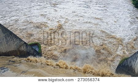Gate Open On Bistrita River Dam After Heavy Rainfall To Prevent Overflow